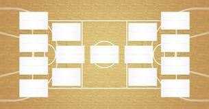 Τα πλέι-οφ ΝΒΑ σχεδιάζουν - υποστηρίγματα ΝΒΑ - το σχέδιο τελικών καλαθοσφαίρισης - φυσικό ξύλινο χρώμα πατωμάτων Στοκ φωτογραφία με δικαίωμα ελεύθερης χρήσης