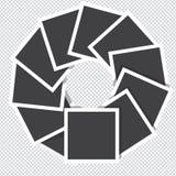 Τα πλαίσια φωτογραφιών περιστρέφονται αντίθετα προς τη φορά των δεικτων του ρολογιού απομονωμένος στο διαφανές υπόβαθρο Στοκ φωτογραφία με δικαίωμα ελεύθερης χρήσης