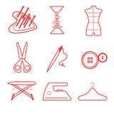 Τα ράβοντας εικονίδια καθορισμένα τη ράβοντας επιχείρηση κόκκινων γραμμών Στοκ εικόνα με δικαίωμα ελεύθερης χρήσης