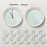 Τα ρεαλιστικά ρολόγια τοίχων καθορισμένα τη διανυσματική απεικόνιση Αναλογικό ρολόι τοίχων Ρεαλιστική δεύτερη μικρή ώρα διανυσματική απεικόνιση