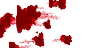 Τα ρεύματα του κόκκινου μελανιού διαδίδουν στο νερό, σε ένα άσπρο υπόβαθρο σαν άλφα μεταλλίνη luma χρήσης καναλιών ελεύθερη απεικόνιση δικαιώματος