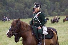 Τα ρωσικά άλογα γύρου στρατιωτών στρατού σε Borodino μάχονται την ιστορική αναπαράσταση στη Ρωσία Στοκ Εικόνες