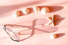 Τα ρόδινα γυαλιά ηλίου των γυναικών με το πλαίσιο μετάλλων πετούν μια μακριά σκιά στη ρόδινη επιφάνεια με seastar και το θαλασσιν στοκ εικόνες με δικαίωμα ελεύθερης χρήσης