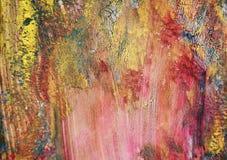 Τα ρόδινα κόκκινα πορφυρά χρυσά χρώματα, μαλακή δομή watercolor χρωμάτων, αφαιρούν το ζωηρό υπόβαθρο Στοκ εικόνες με δικαίωμα ελεύθερης χρήσης