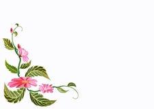 Τα ρόδινα λουλούδια με τα φύλλα Στοκ φωτογραφίες με δικαίωμα ελεύθερης χρήσης
