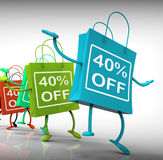 Τα σαράντα-τοις εκατό από τις τσάντες παρουσιάζουν τις πωλήσεις και 40 εκπτώσεις Στοκ φωτογραφία με δικαίωμα ελεύθερης χρήσης