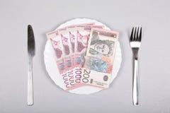 Τα σερβικά χρήματα Δηναρίων σε ένα άσπρο πιάτο με το δίκρανο και το μαχαίρι σε ένα γκρίζο υπόβαθρο, τοπ άποψη, επίπεδη βάζουν στοκ εικόνα με δικαίωμα ελεύθερης χρήσης