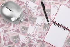 Τα σερβικά χρήματα, το σημειωματάριο και η μάνδρα μετρητών Δηναρίων, ασημώνουν τη piggy τράπεζα στον πίνακα στοκ φωτογραφία με δικαίωμα ελεύθερης χρήσης