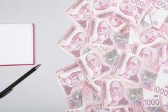 Τα σερβικά χρήματα, το σημειωματάριο και η μάνδρα μετρητών Δηναρίων, ασημώνουν τη piggy τράπεζα στον πίνακα στοκ εικόνες