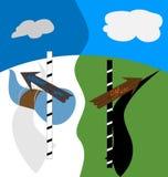 Τα σημάδια στο δίκρανο μέσα - μεταξύ του καλοκαιριού και του χειμώνα Στοκ εικόνες με δικαίωμα ελεύθερης χρήσης