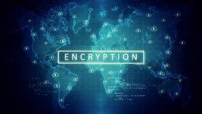 Τα σημάδια της κωδικοποίησης στον παγκόσμιο χάρτη σε ένα περιτυλιγμένο βίντεο διανυσματική απεικόνιση