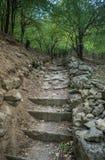 Τα σκαλοπάτια στον chufut-Kale - μεσαιωνική πόλη σπηλιών στο της Κριμαίας βουνό Στοκ Φωτογραφίες