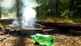 Τα σκουπίδια που αφήνονται από τους ανθρώπους σε ένα καθάρισμα στα ξύλα, μετά από την υπαίθρια αναψυχή, οι πυρκαγιές καίνε, η ρύπ απόθεμα βίντεο