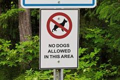 Τα σκυλιά ενός αριθ. επέτρεψαν σε αυτό το σημάδι περιοχής Στοκ Φωτογραφία