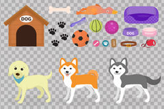 Τα σκυλιά γεμίζουν το εικονίδιο που τίθεται με τα εξαρτήματα για τα κατοικίδια ζώα, επίπεδο ύφος, στο άσπρο υπόβαθρο Συλλογή κατο Στοκ Εικόνες