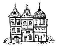 Τα σπίτια παραμυθιού εικόνων σχεδίων με τις ασυνήθιστες στέγες, που ευθυγραμμίζονται με το τούβλο, σκιαγραφούν doodle τη διανυσμα ελεύθερη απεικόνιση δικαιώματος