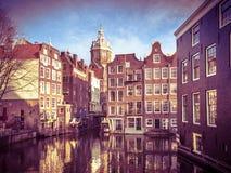 Τα σπίτια Armbrug Άμστερνταμ καναλιών αναδρομικό κοιτάζουν Στοκ εικόνες με δικαίωμα ελεύθερης χρήσης