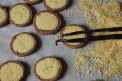 Τα σπιτικά, στρογγυλά βουτύρου μπισκότα με τη σοκολάτα κομπάζουν Στοκ Φωτογραφία