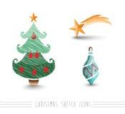 Τα στοιχεία δέντρων μπιχλιμπιδιών ύφους σκίτσων Χαρούμενα Χριστούγεννας καθορισμένα το αρχείο EPS10 Στοκ Φωτογραφία