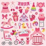 Τα στοιχεία κοριτσάκι καθορισμένα τη συλλογή Εικονίδια ντους μωρών Στοκ Φωτογραφία
