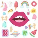 Τα στοιχεία μπαλωμάτων Hipster δίνουν τις συρμένες χαριτωμένες μοντέρνες αυτοκόλλητες ετικέττες doodle λαϊκές καρφίτσες σκίτσων τ Στοκ Εικόνα