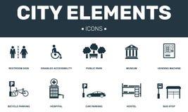 Τα στοιχεία πόλεων καθορισμένα τη συλλογή εικονιδίων Περιλαμβάνει τα απλά στοιχεία όπως ο εκτός λειτουργίας, δημόσιου πάρκων, ξεν απεικόνιση αποθεμάτων