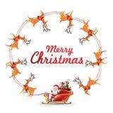 Τα στοιχεία στεφανιών Χριστουγέννων με Άγιο Βασίλη οδηγούν την περιστροφή ελκήθρων ταράνδων γύρω από κάνουν το πλαίσιο για το κεν ελεύθερη απεικόνιση δικαιώματος