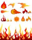 τα στοιχεία σχεδίου βάζουν φωτιά στις φλόγες Στοκ Φωτογραφία