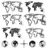 τα στοιχεία σχεδίου χαρτογραφούν τον κόσμο Στοκ Εικόνα