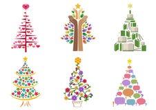 τα στοιχεία σχεδίου Χριστουγέννων που τίθενται το δέντρο Στοκ Εικόνες