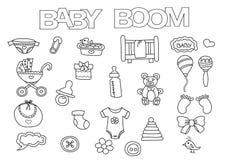 Τα στοιχεία baby boom δίνουν το συρμένο σύνολο Χρωματίζοντας πρότυπο βιβλίων Περίληψη Doodle Στοκ Εικόνες