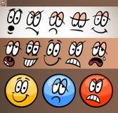 Τα στοιχεία Emoticon που τίθενται την απεικόνιση κινούμενων σχεδίων Στοκ Εικόνες