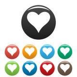 Τα στοργικά εικονίδια καρδιών καθορισμένα το διάνυσμα χρώματος απεικόνιση αποθεμάτων