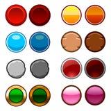 Τα στρογγυλά κουμπιά παιχνιδιών υποστηρίζουν και εικονίδια Στοκ εικόνα με δικαίωμα ελεύθερης χρήσης