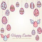 τα συρμένα αυγά Πάσχας δίνουν την κάρτα Στοκ Εικόνες