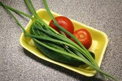 Τα συστατικά για τα κρεμμύδια και τις ντομάτες σαλάτας Στοκ εικόνες με δικαίωμα ελεύθερης χρήσης