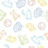 Τα σχέδια παιχνιδιών μωρών, αυτοκίνητο, αντέχουν, άλογο, σφαίρα, τραίνο, τύμπανο στην άσπρη, διανυσματική απεικόνιση, άνευ ραφής  Στοκ φωτογραφία με δικαίωμα ελεύθερης χρήσης
