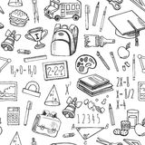 Τα σχολικά εργαλεία σκιαγραφούν το γραπτό άνευ ραφής διανυσματικό σχέδιο Στοκ Φωτογραφίες