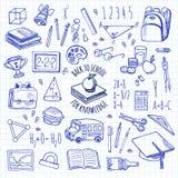 Τα σχολικά εργαλεία σκιαγραφούν το μπλε διανυσματικό σύνολο εικονιδίων Στοκ Εικόνα
