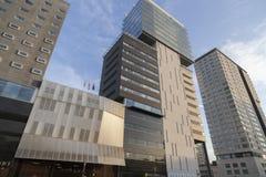 Τα σύγχρονα κτήρια στη διαγώνιος χαλούν την περιοχή, Βαρκελώνη Στοκ Εικόνες
