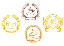 Τα σύμβολα τροφίμων με τη δάφνη περιβάλλουν και κορδέλλες απεικόνιση αποθεμάτων