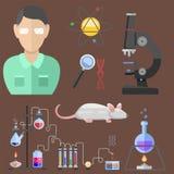 Τα σύμβολα εργαστηρίων εξετάζουν την ιατρικές έννοια μικροσκοπίων μορίων σχεδίου της εργαστηριακής επιστημονικές βιολογίας και τη ελεύθερη απεικόνιση δικαιώματος