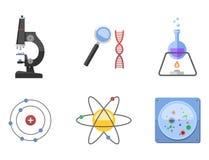 Τα σύμβολα εργαστηρίων εξετάζουν την ιατρικές έννοια μικροσκοπίων μορίων σχεδίου της εργαστηριακής επιστημονικές βιολογίας και τη διανυσματική απεικόνιση