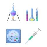 Τα σύμβολα εργαστηρίων εξετάζουν την ιατρικές έννοια συρίγγων μορίων σχεδίου της εργαστηριακής επιστημονικές βιολογίας και την επ διανυσματική απεικόνιση
