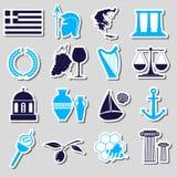 Τα σύμβολα και τις αυτοκόλλητες ετικέττες θέματος χωρών της Ελλάδας καθορισμένα eps10 Στοκ Φωτογραφίες