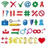 Τα σύμβολα και το indicia που χρησιμοποιούνται στο διαδίκτυο Στοκ εικόνες με δικαίωμα ελεύθερης χρήσης