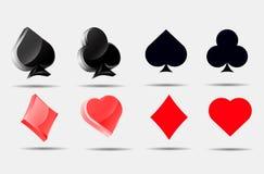 Τα σύμβολα καρτών παιχνιδιού καθορισμένα τη συλλογή πόκερ Στοκ Εικόνες