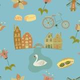 Τα σύμβολα της Ολλανδίας δίνουν το συρμένο άνευ ραφής διανυσματικό σχέδιο Στοκ Εικόνες