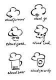 Τα σύννεφα δίνουν τα συρμένα διανυσματικά λογότυπα καθορισμένα (σημάδι, εικονίδιο, απεικόνιση) Στοκ Φωτογραφίες