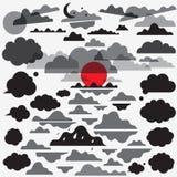 Τα σύννεφα καθορισμένα τα διανυσματικά εικονίδια Στοκ εικόνες με δικαίωμα ελεύθερης χρήσης